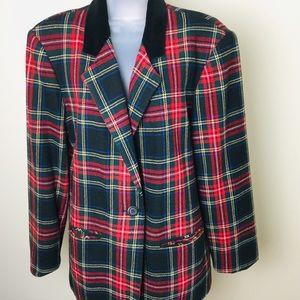 Vintage Tartan Plaid Blazer Jacket Velvet Color 14